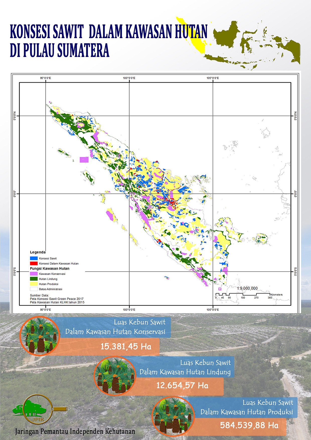 Oil Palm Concessions in Forest Areas on Sumatra Island