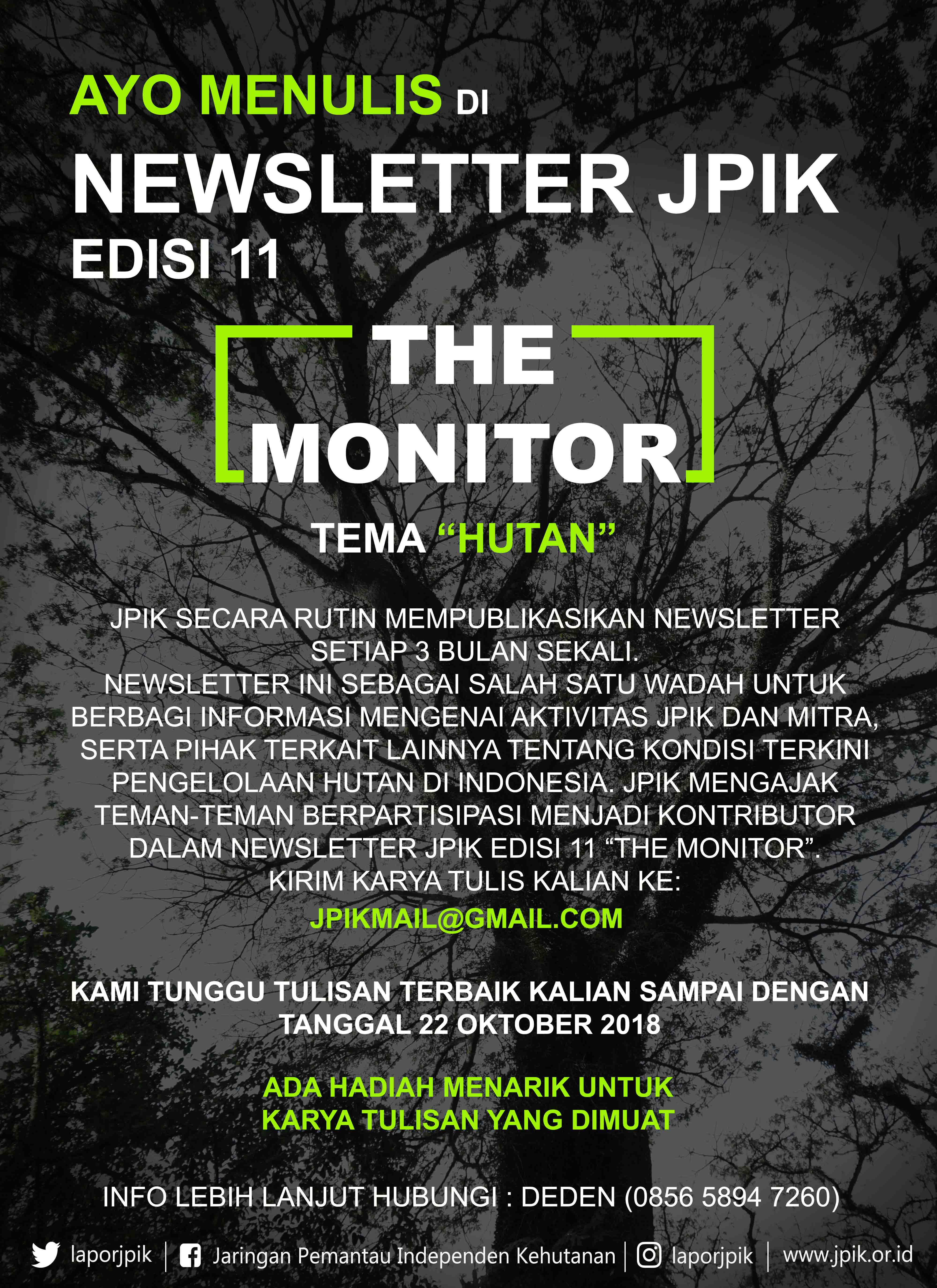 "Contribute Your Writing in the JPIK Newsletter Edition 11 ""The Monitor"""